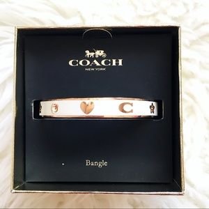 COACH Enamel Motif Bangle Rs/Chalk white